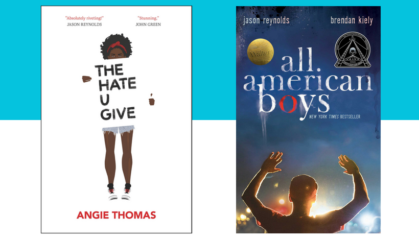 Cover images for the books The Hate U Give and