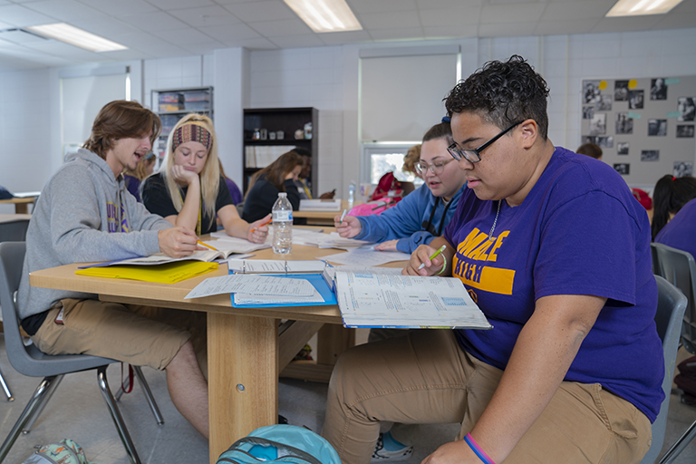 group of teens in study group