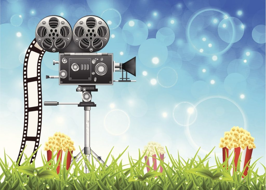 an illustration of a movie projector and popcorn under a summer sky